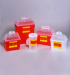 Sharps Container, 8 quart, Clear Top, Funnel Cap, Red (Continental US Only)