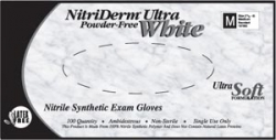 Gloves, Exam, Medium, Nitrile, Non-Sterile, PF, Textured, ThinFilm, White, 100/box100/bx