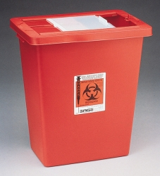 Sharps Container, 18 gallon, with hinged lid, Kendall